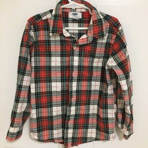 Old Navy Boys Button Up Plaid Shirt size 5 (xs)